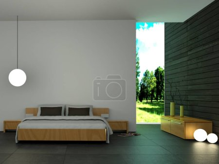 Ipastock camera da letto moderna con la parete in legno e arredamento moderno - Camera da letto arredamento moderno ...
