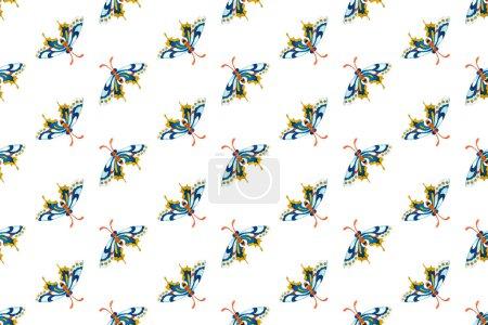 Ipastock Reticolo Di Farfalle Blu Su Sfondo Bianco