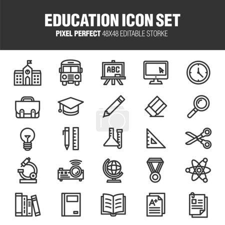 Una serie di icone scolastiche ed e...
