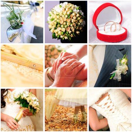 collage di foto di nozze nove