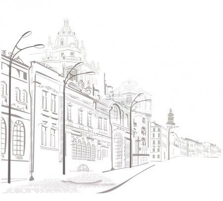 schizzi delle vie della città vecc...