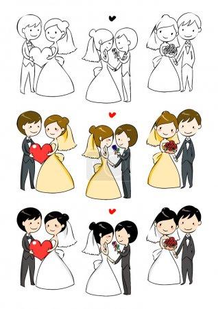 bella sposa e lo sposo con 3 azioni
